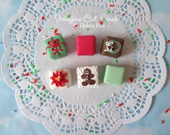 FAUX Petit Four Set of six Fake Mini Cakes Tea Party CHRISTMAS Food Prop Photo Kitchen Decor