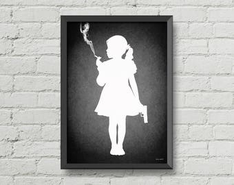 Kids today,original artwork,poster,digital print,black,white,gothic,gift ideas,illustration,silhouette,weird,