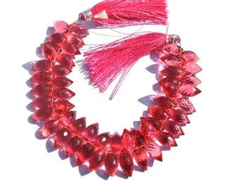 7 Inches 60Pcs Super Finest  AAA Rubellight Pink Quartz Faceted Rice Briolettes Size 13x7mm Dew Drop Briolette Gemstone Briolette