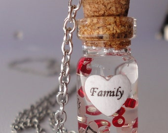 glass bottle necklace, name on rice necklace