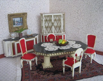 Vintage 1964 Ideal Petite Princess Dollhouse Fantasy Furniture-DINING ROOM Set- 1:16 Scale