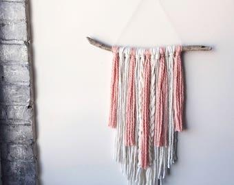 Yarn Wall Hanging, Boho Wall Hanging, Fringe Wall Hanging