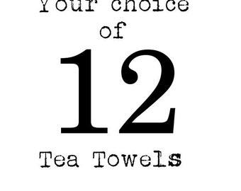 Twelve FRENCH SILVER DESIGN Flour Sack Tea Towels