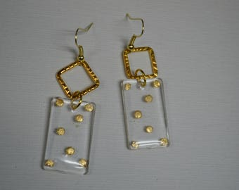 Small Oblong Clear Jewelry fused gold Polka dots, Gifts for her, Quirky, Rockabilly ,Bold Jewelry, Quirky jewelry