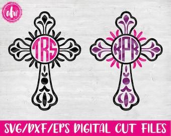 Monogram Cross, SVG, DXF, EPS, Cut Files, Easter, Flourish, Vinyl, Vector, Monogram Frame, Silhouette, Cricut