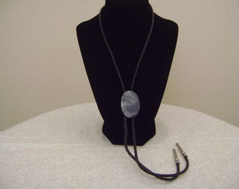 Vintage Bolo Tie with Large Glass Stone Leather Cord