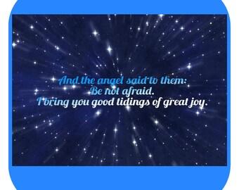 Christmas, Good Tidings of Great Joy Gift Coasters, Set of 4, Angel, Be Not Afraid, Jesus, Birth, Bible Verse, Twinkling Stars, God, Love