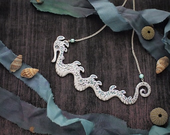 Sea Dragon Seahorse Necklace Fantasy Jewelry Statement Necklace Delicate Ocean Sea Jewelry Sea Coral Reef Life