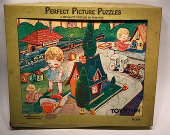 Vintage 1930s Child's Puzzle Set Complete Set of 4 Childrens Puzzles Art Deco era Perfect Picture Puzzles Animals Babies With Box