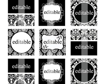 NEW - Editable  4x6 JPEG - Black & White - 1 inch Square Digital images for Glass and wood pendants, cupcake toppers, magnets, etc.