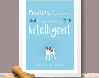 Jack Russell Terrier Personality Trait poster - Jack Russell Terrier lover gift, Jack Russell poster, Jack Russell print, dog poster