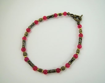 Beaded Antique Bracelet with Dainty Pink and Antique Bronze Beads