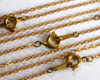 Vintage Raw Brass Flat Cable Chain Bracelets (6X) (6 inch)  (C568)