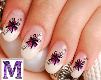 Hair Dresser Stylist Cute Girly Comb and Scissors Tattoo Nail Decals SCS101