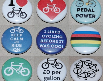 Cycling Button Badge 25mm / 1 inch Bicycle Bike