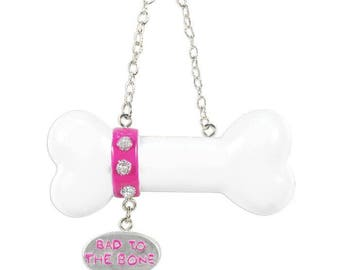 Dog Bone Ornament  Pink Dog Bone  Bad to the Bone Ornament  Personalized Christmas Ornament