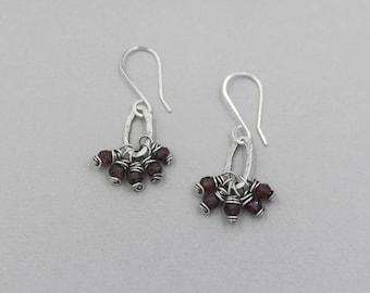 Garnet Cluster Dangle Earrings, Funky, Rustic, Red, Oxidized Sterling Silver Wire Wrapped Gemstone Earrings, Small Hoop, January Birthstone