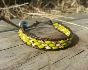 SuperDuo leather wrap bracelet: olive and white-picasso