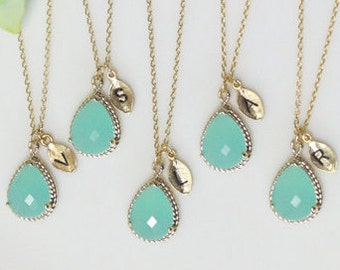 Bridesmaid gifts - Set of 4,5,6 - Leaf initial, Mint crystal drop necklace,stone in twisted bezel, Initial, in gold,  B0083-G