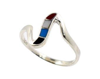 Silver ring with enameling. Size 8 and 8,25 avaliable