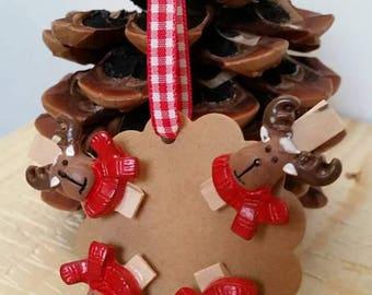 Linen Christmas Reindeer x 4 clip