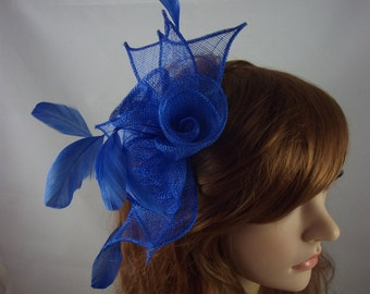 Royal Blue Rose Comb Fascinator with Feathers - Occasion Wedding Races