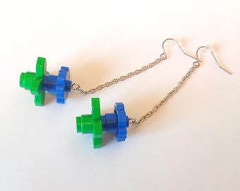 """Funny fun"" earrings - blue LEGO flowers - Djouland collection"