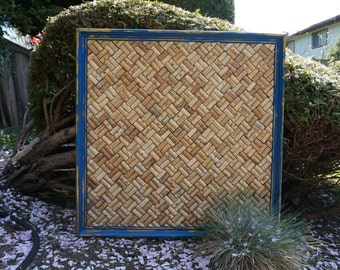 Wine Cork Board in Upcycled Distressed Blue and Gold Vintage Frame