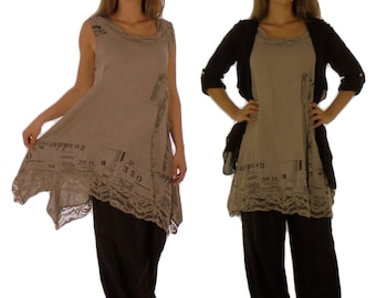 HF700TP44 ladies tunic top linens Patchtwork vintage size 42 / 44-taupe