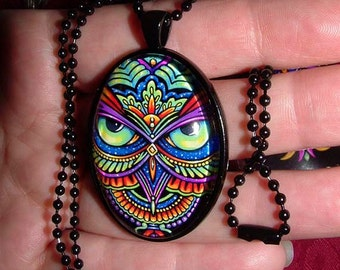Psychedelic Rainbow Owl Trippy Hippie Owleister Black Glass Necklace