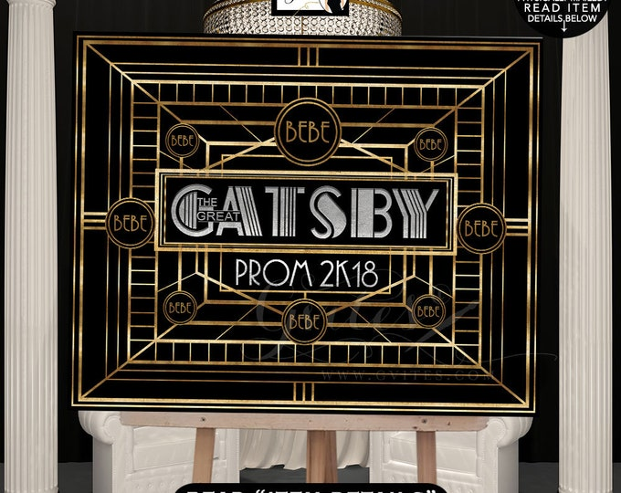 The Great Gatsby Prom Sign Poster, Black Gold and Silver, Welcome Entrance, Decoration, Graduation, Design Fees, DIGITAL FILE ONLY! Gvites