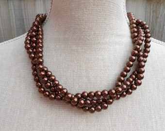 Brown multistrand glass beads necklace, triple strands, magnetic clasps, wedding necklace, jewelry party, valentine gift, mother day