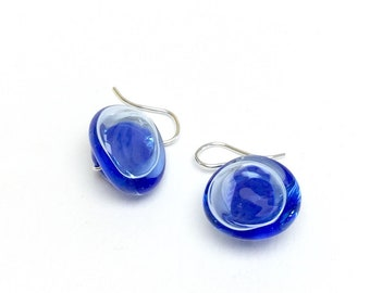Lapis & Sky Blue Hollow Button Dangle French Hook Earrings