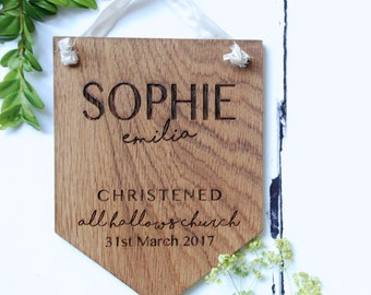 Wooden Christening Gift - Personalised Pennant Flag - Newborn - Christening gift boy - Christening gift girl - Baptism Gift - New Baby