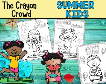 Summer Kids Coloring Pages - The Crayon Crowd, cute, printable, party, party favors, Coloring book, Sheets, kids, pdf, vacation, beach