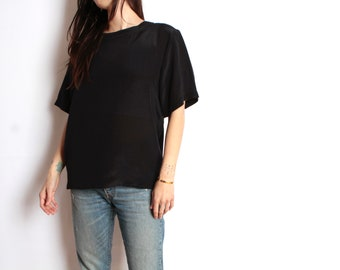 SILK 90s SHEER oversize slouchy BLACK blouse boxy top