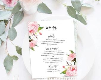 Printable Wedding Menu / Menu Cards, Wedding Menu Printable, Printable Menu - The In Bloom Suite