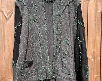 Mens patchwork baggy oversized stitched panelled jumper