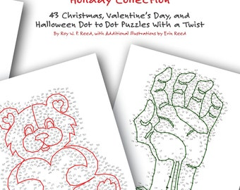 Holiday Dot to Dot Book. 43 different Skip Counting puzzle pages for kids to learn math and adults to maintain brain fitness.