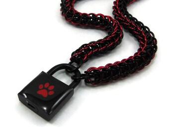 Unisex BDSM Slave Collar Black & Red Paw Print Locking Chainmail Choker Pup Kitten Sub
