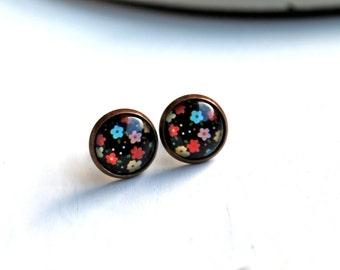 Pretty  flower stud  earrings sweet lolita feminine colorful black