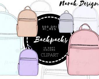 Soft Color Backpacks CLIPART, Clip Art, Illustration, Clipart, STICKER Clipart, Watercolor Clipart, Hand drawn Clipart, Bullet Journal