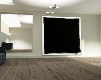 XXL Abstract Modern Art  black & white exclusive minimal abstract painting, handpainted minimalist modern art large wall art