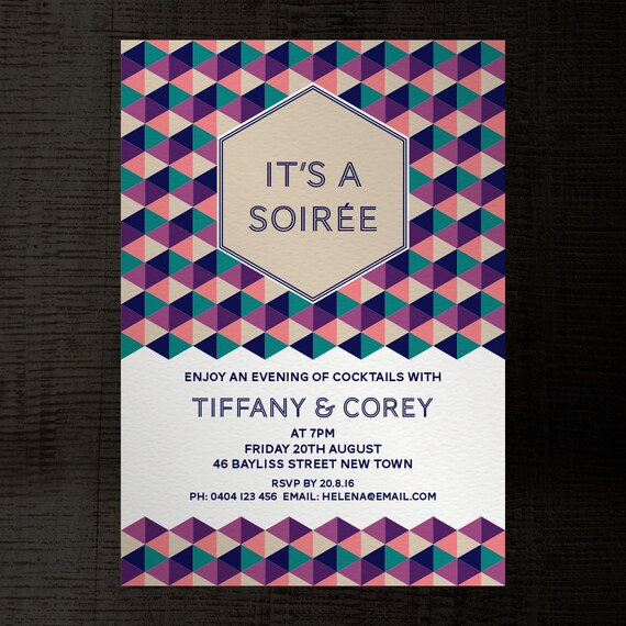 Soiree InDesign template party invitation A5 for birthday