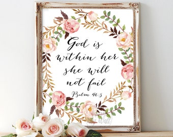 God is within her, she will not fail, bible verse, psalm 46 5, printable art, she will not fall, scripture, psalm 46 christian inspirational