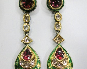Vintage antique solid 20K Gold jewelry Diamond & rhodolite earring pair