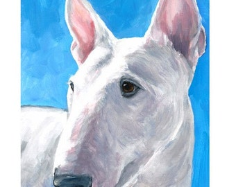 English Bull Terrier, Dog Art Print of Original Painting by Dottie Dracos, White Bully on Blue