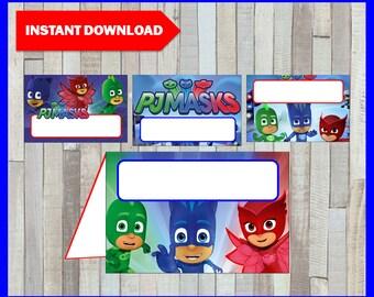 Printable Pj masks Food labels instant download, Pj masks party Food tent cards, Printable Pj masks Tent cards