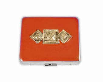 Art Deco Weekly Pill Box inlaid in Hand Painted Orange Opaque Enamel with Personalized and Color Options Available