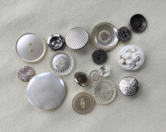 Vintage Buttons Lot - White - Button Bib Necklace Lot - 023